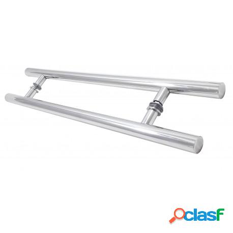 Puxador 90cm tubular 25mm alumínio polido para porta de madeira ou vidro
