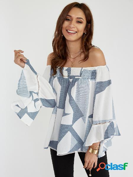 Branco aleatório impressão fora do ombro queimado mangas blusa