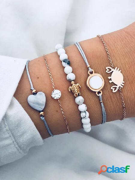 Love & turtle & crab & geometric circular bracelet set 5pcs