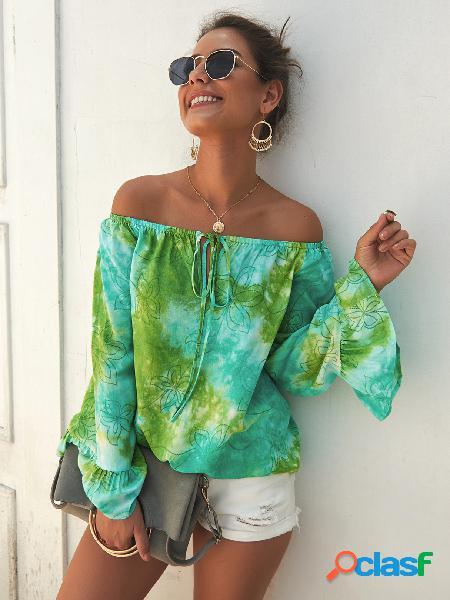 Verde tie-dye fora do ombro blusa de mangas compridas