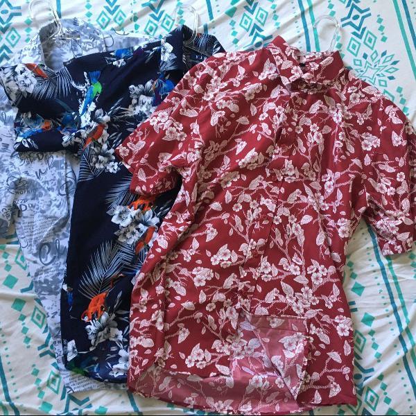 3 camisas estampadas manga curta