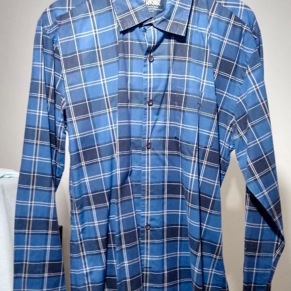 Camisa xadrez azul escura vr mnswr tam p