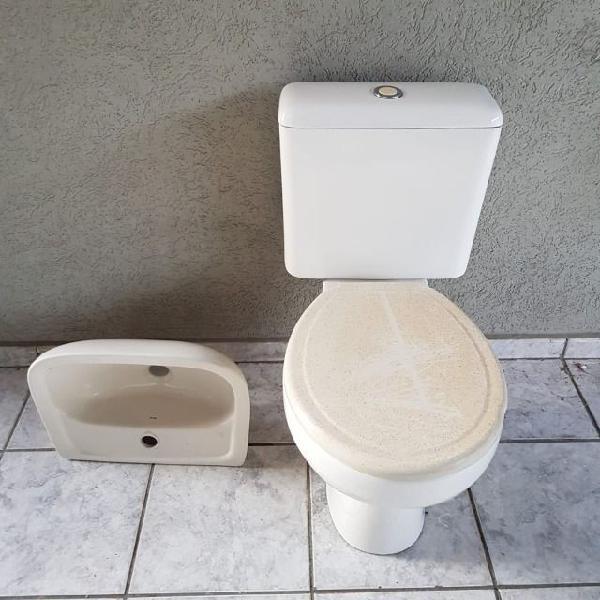 Kit louça banheiro vaso sanitário, caixa acoplada e pia