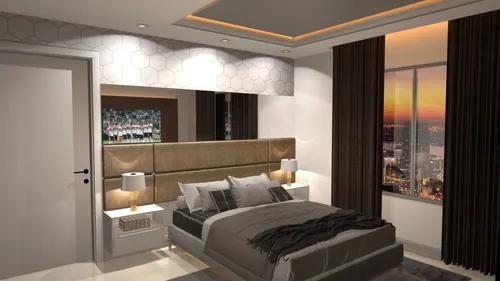 Projeto design interiores suíte casal cabeceira marcenaria
