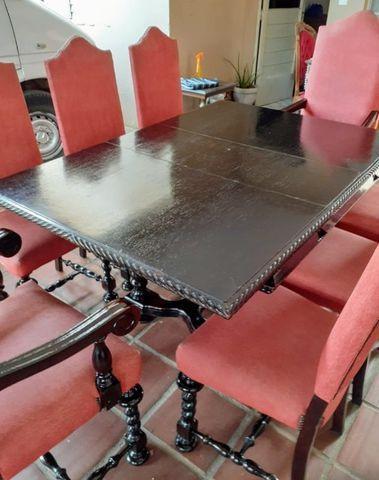 Rarídade mesa de jantar antiga colonial antiga manuelino em