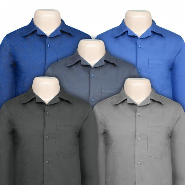 camisa brim masculina profissional manga longa
