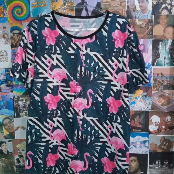 Camisa camiseta blusa flamingo rosa