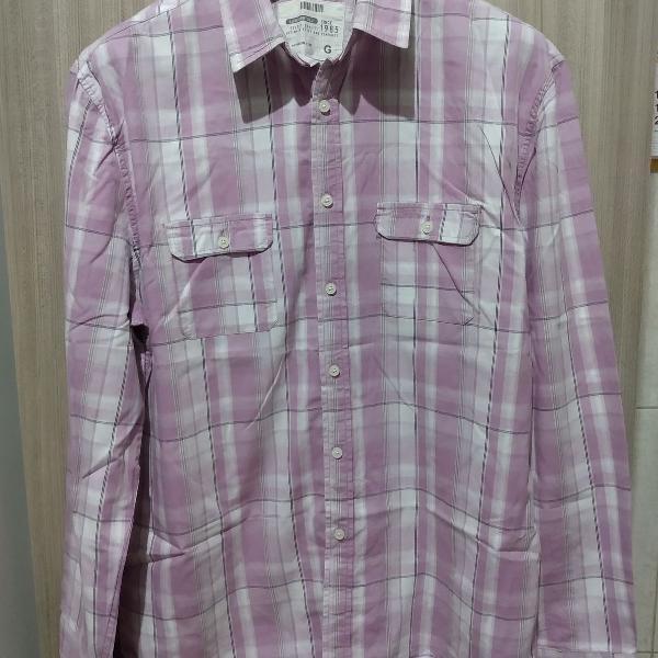 Camisa social lilás xadrez