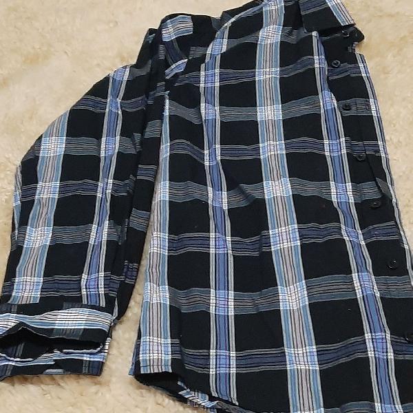 Camisa xadrez masc manga longa
