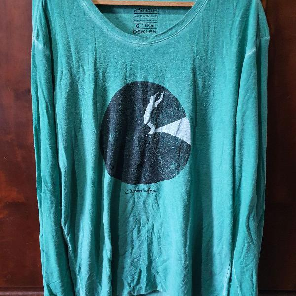Camiseta osklen manga comprida cor verde tamanho g