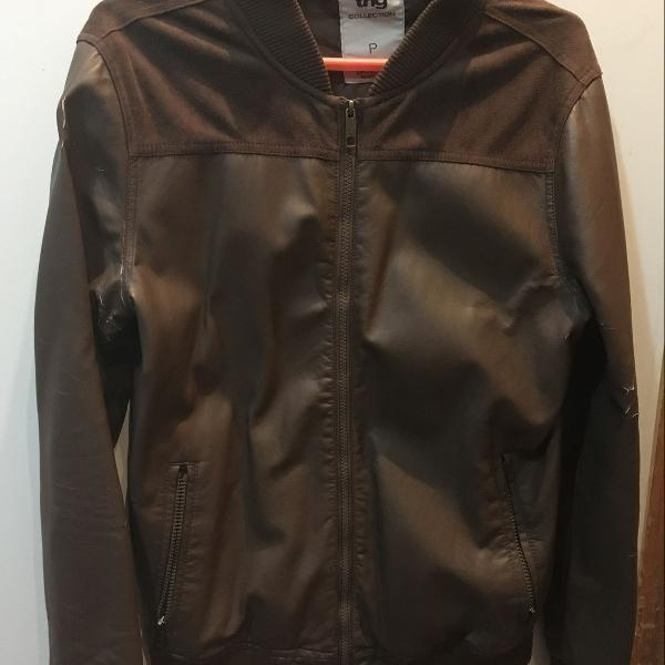 Jaqueta de couro sintético marrom masculina tamanho p