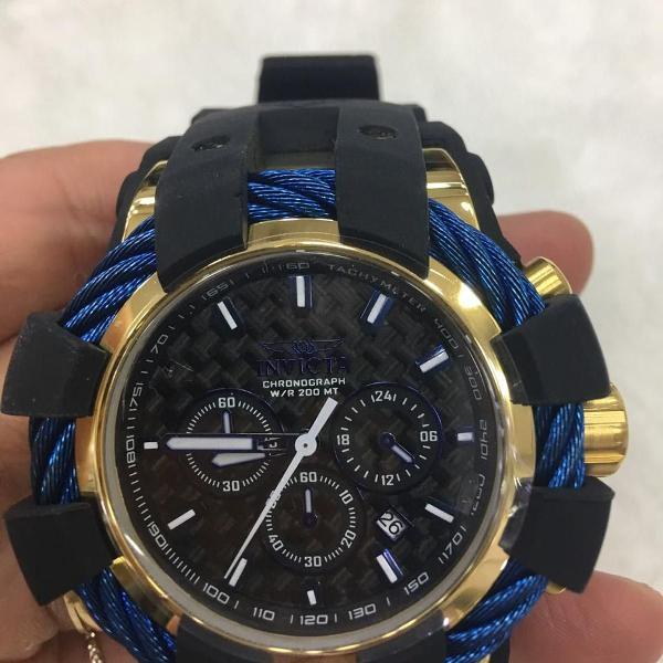 Relógio invicta bolt sport 23862 preto dourado e azul