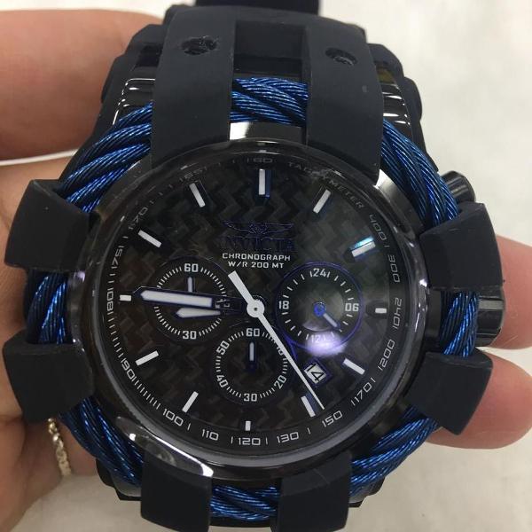 Relógio invicta bolt sport preto e azul masculino 23868