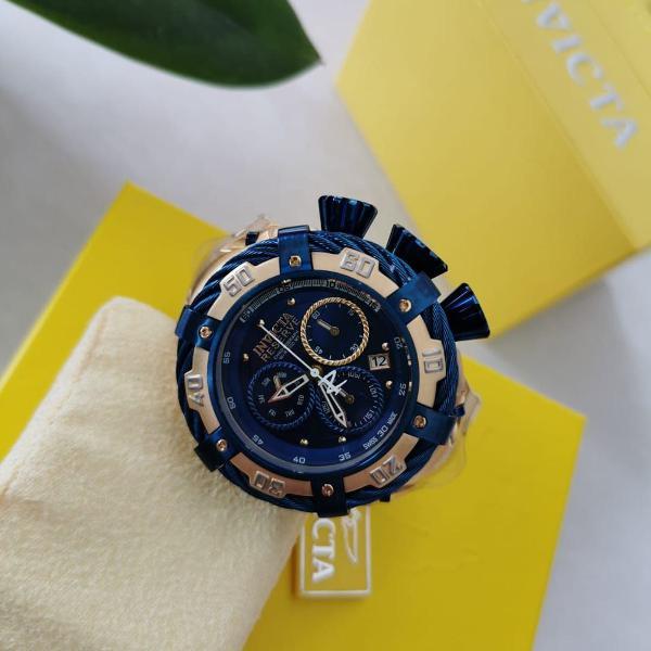 Relógio masculino invicta thunderbolt 21361 dourado e azul