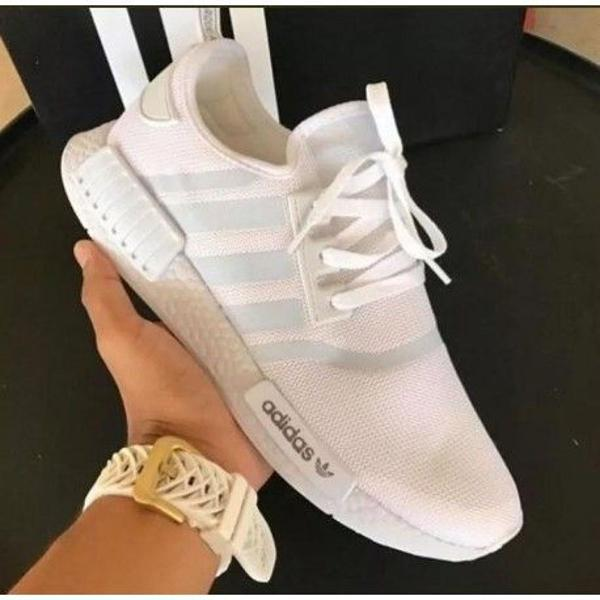 Tênis adidas nmd r1 todo branco unissex mega oferta