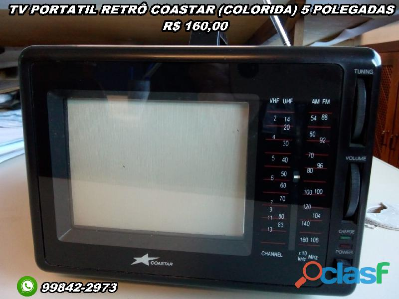 Tv portátil retrô coastar (colorida) 5 polegadas