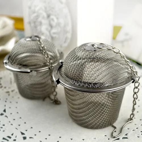 2 tamanhos 304 aço aço chá infusor malha buracos de ervas