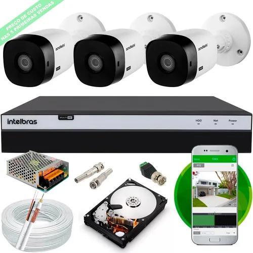 Kit 3 cameras 1220b intelbras full hd dvr mhdx 3104 hd cabo