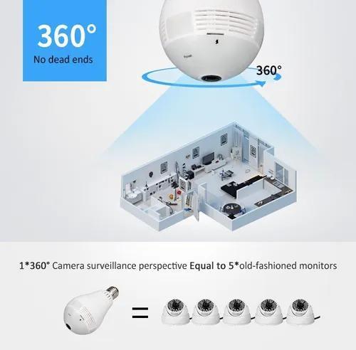 Lampada câmera espiã infravermelho ip wifi hd panoramica