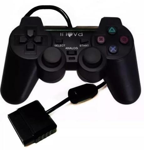 Novo) controle playstation ps2 inova com fio com analógico