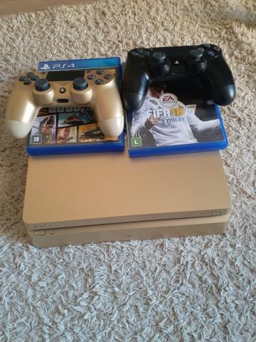 Playstation 4 dourado semi-novo 1tb 6 meses de ps plus com 7