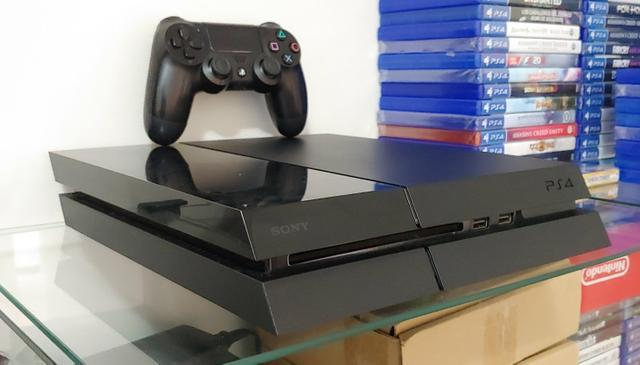 Playstation 4 ps4 fat 500gb black piano + jogo troco parcelo
