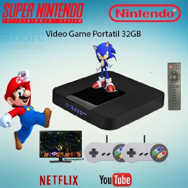 Video game retro multi jogo 8400 jogos 2 controles snes 32gb