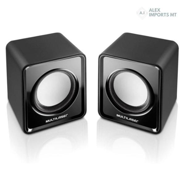 Caixa de som mini multilaser 2.0 canais 3w rms usb preto