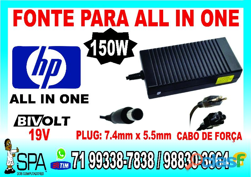 Fonte Carregador Para Notebook Netbook Hp Mini 19.5V 2.05A 40w Plug 4.0mm 1.7mm em Salvador Ba