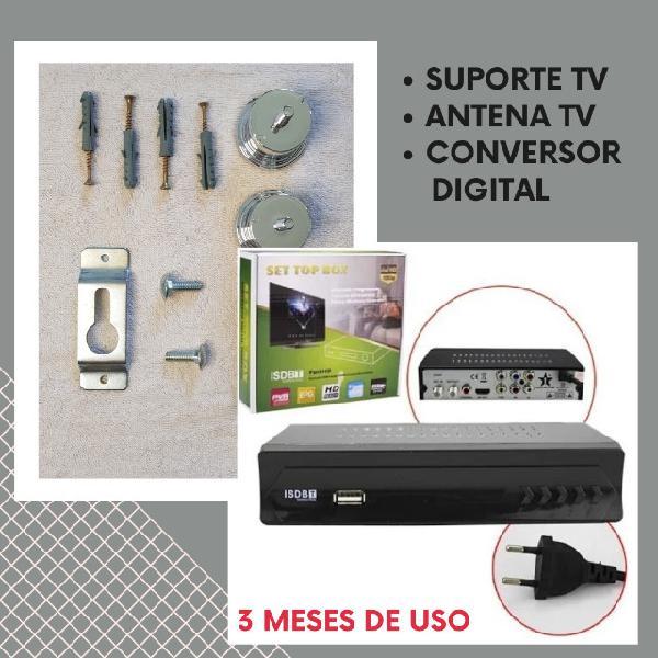 Antena interna + conversor digital + suporte p/ tv fixo |