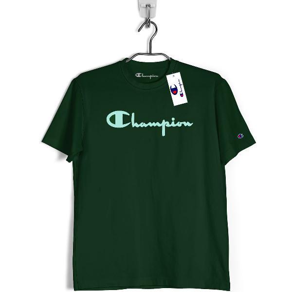 Camiseta champion verde escuro 100% algodão