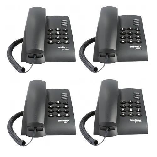 Kit 4 telefones com fio mesa ou parede pleno preto intelbras