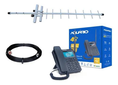 Kit telefone rural celular lte wi-fi ca-42s 4g + cabo 10m