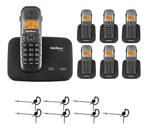 Telefone 2 linhas ts 5150 + 6 ramais + 7 fones intelbras