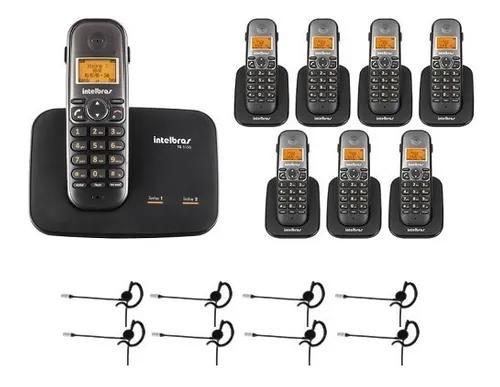 Telefone 2 linhas ts 5150 + 7 ramais + 8 fones intelbras