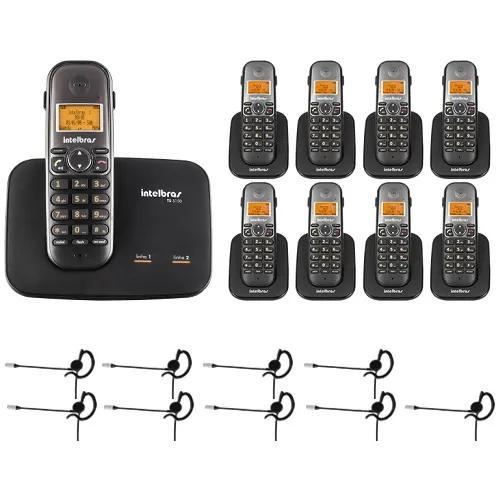 Telefone 2 linhas ts 5150 + 8 ramais + 9 fones intelbras