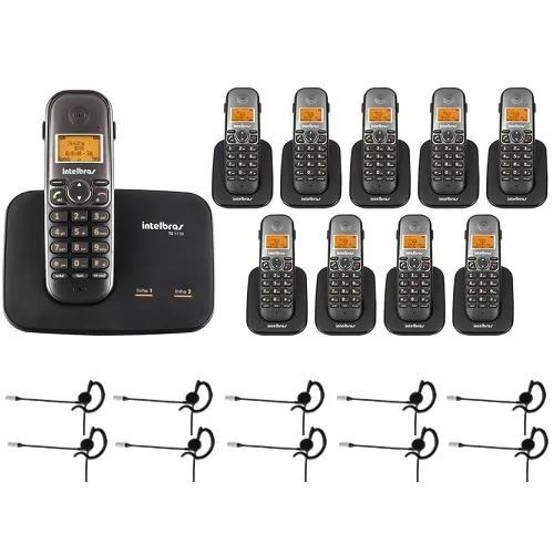 Telefone 2 linhas ts 5150 + 9 ramais + 10 fones intelbras