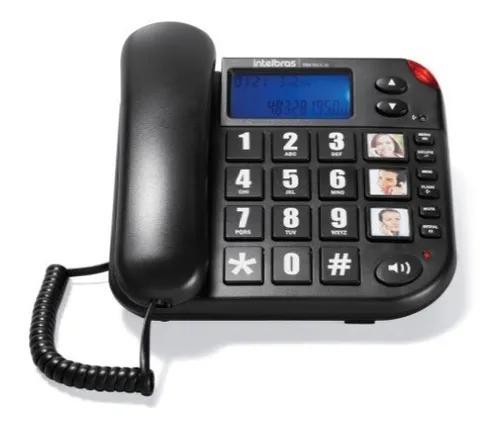 Telefone c/ fio intelbras ideal p/ idosos tok fácil id