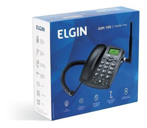 Telefone celular de mesa fixo gsm100 preto elgin quad band