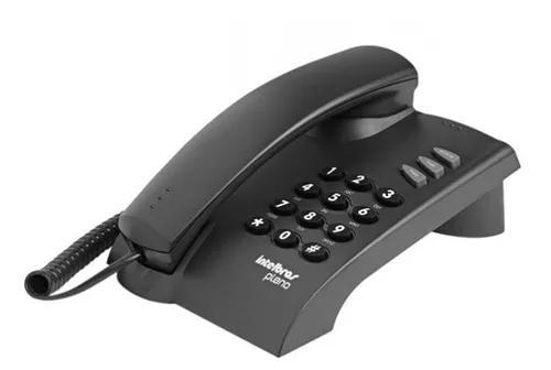Telefone fixo intelbrás pleno preto com fio certific.