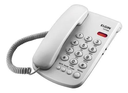 Telefone fixo mesa parede branco c/ fio elgin