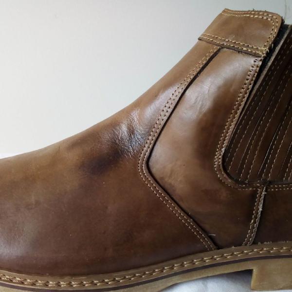 Bota botina tamanho 48 - couro legitmo - sola látex - ziper