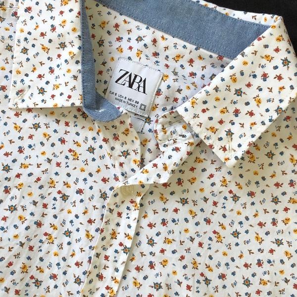 Camisa branca florida zara