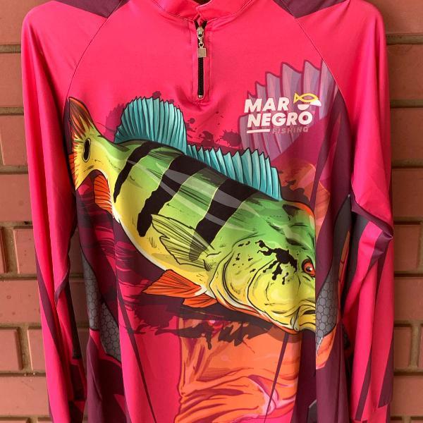 Camisa de pesca mar negro com proteção solar filtro uv 50