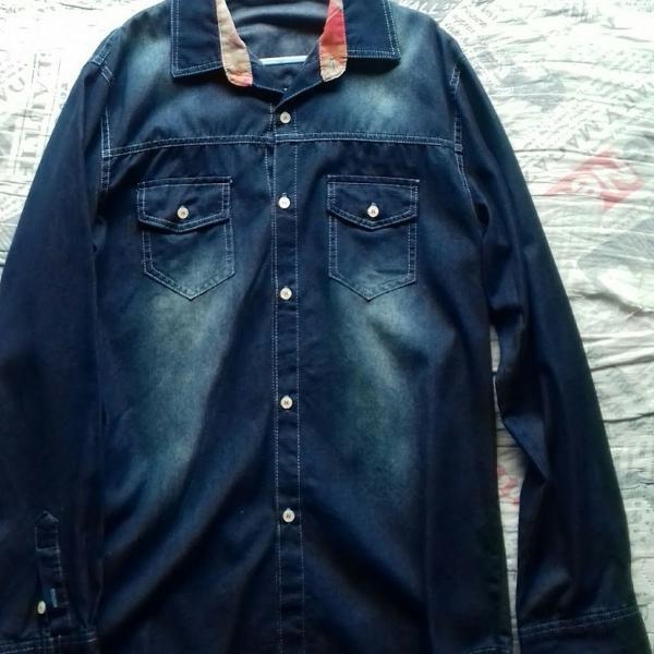 Camisa jeans manga comprida