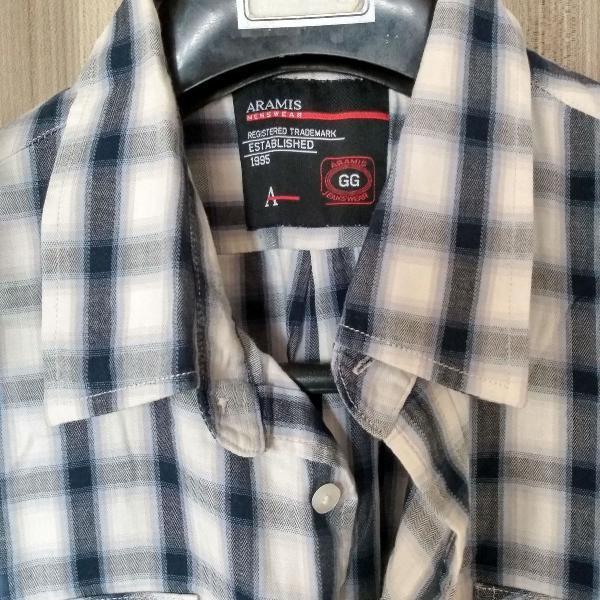 Camisa xadrez cinza, masculina