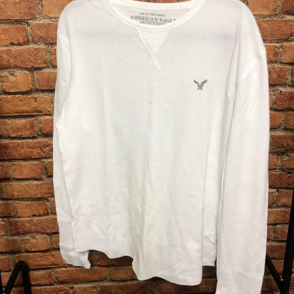 Camiseta branca manga comprida american eagle