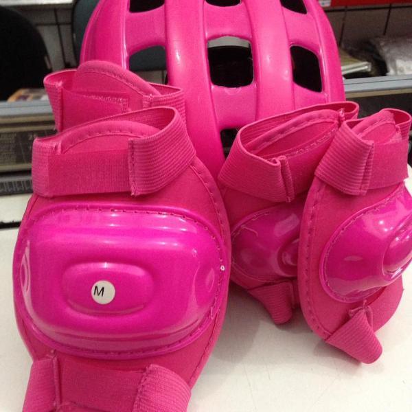 Kit de proteção para skate patins bike - rosa - 3 peças