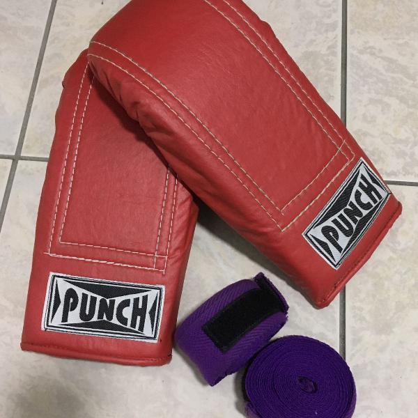 Luva bate saco punch elástico + 1 par faixa