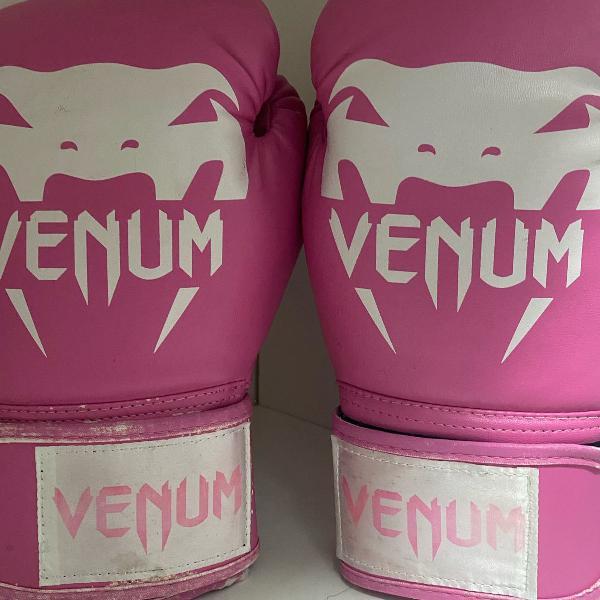 Luva boxe venum rosa e branca 8oz